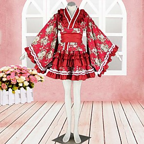 cheap Lolita Dresses-Wa Lolita Dress Satin Outfits Cosplay Long Sleeve Medium Length Costumes
