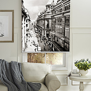 cheap Mosquito Nets-Monochrome Style Classic Buildings Roller Shade