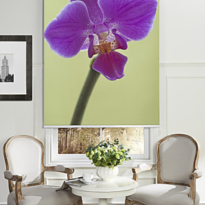 cheap Mosquito Nets-Botanic Style Violet Orchid Roller Shade