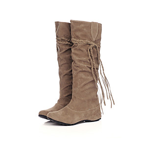 cheap Women's Boots-Women's Wedge Heel Ruffles / Lace-up Suede 35.56-40.64 cm / Knee High Boots Slouch Boots Fall / Winter Black / Pink / Brown