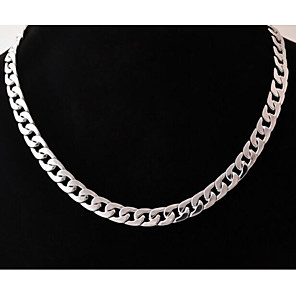 cheap Men's Chain Necklaces-Men's hiphop Chain Necklace Cuban Baht Chain Stainless Steel Titanium Steel Silver Necklace Jewelry For Gift Casual Street