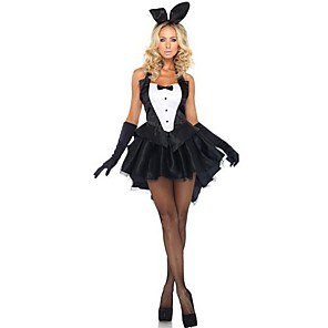 cheap Men's & Women's Halloween Costumes-Bunny Girl Dress Cosplay Costume Party Costume Adults' Women's Christmas Halloween Festival / Holiday Polyester Black Women's Female Carnival Costumes Patchwork / Gloves / Headwear / Gloves
