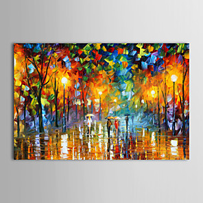 cheap Landscape Paintings-Oil Painting Hand Painted - Landscape Traditional Modern Stretched Canvas
