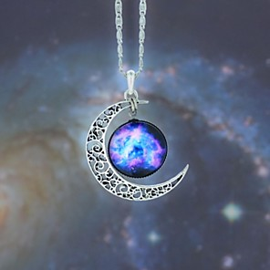 cheap Necklaces-Women's Opal Pendant Necklace Long Necklace Engraved Moon Galaxy Crescent Moon Magic Ladies European Fashion Hippie Synthetic Gemstones Alloy Dark Blue / Fuchsia Black / Sky Blue Red / White Rainbow