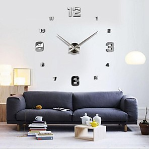 cheap Abstract Paintings-Frameless Large DIY Wall Clock, Modern 3D Wall Clock with Mirror Numbers Stickers for Office Living Room Bedroom Kitchen Bar Clock Plate