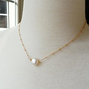 cheap Pearl Necklaces-Women's Pendant Necklace Dainty European Simple Style Delicate Pearl Alloy Gold Necklace Jewelry For