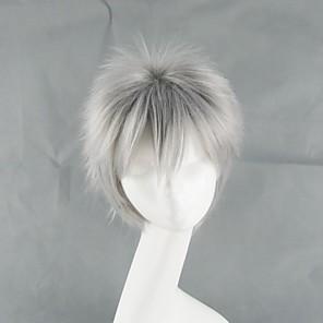 cheap Human Hair Capless Wigs-Hetalia Prussia Gilbert Beilschmidt Cosplay Wigs Men's 14 inch Heat Resistant Fiber Gray Anime
