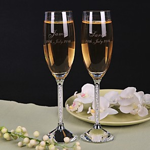cheap Wedding Decorations-Crystal Toasting Flutes Gift Box Classic Theme All Seasons