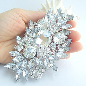 cheap Party Sashes-Women's Crystal Brooches Flower Statement Ladies Luxury Fashion fancy Crystal Rhinestone Brooch Jewelry White Silver For Wedding Party Special Occasion Birthday Gift Casual