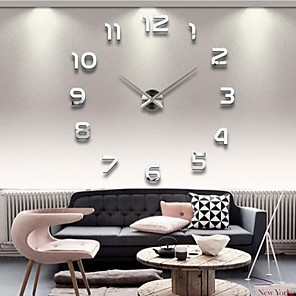 "cheap Wall Clocks-39""W DIY 3D Mirror Numbers Acrylic Sticker Wall Clock"