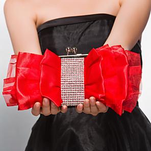cheap Clutches & Evening Bags-Women's Zipper Satin Evening Bag Fuchsia / Red / Almond