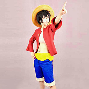 cheap Anime Costumes-Inspired by One Piece Monkey D. Luffy Anime Cosplay Costumes Japanese Cosplay Suits Patchwork Top Belt Shorts For Men's Women's