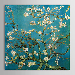 cheap Abstract Paintings-Oil Painting Paint Handmade Flowers Almond Branches in Bloom Vincent Van Gogh Reproduction Hand-Painted Ready to Hang
