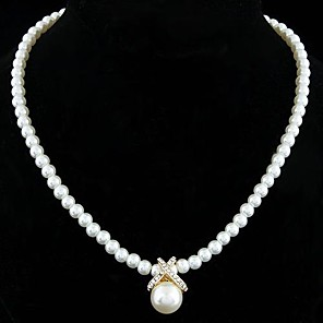 cheap Pearl Necklaces-Women's Pearl Pendant Necklace Pearl Necklace Ladies Elegant Bridal Pearl Sterling Silver Imitation Pearl Golden Silver Necklace Jewelry For Wedding Party Daily / Silver Plated / Rhinestone