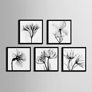 cheap Framed Arts-Framed Canvas Framed Set - Floral / Botanical PVC Illustration Wall Art