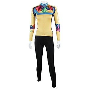 cheap Flush Mount Wall Lights-ILPALADINO Women's Long Sleeve Cycling Jersey with Tights Winter Fleece Yellow Floral Botanical Bike Clothing Suit Windproof Breathable Quick Dry Back Pocket Sports Floral Botanical Clothing Apparel