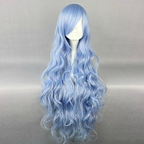 cheap Costume Wigs-Cosplay Costume Wig Synthetic Wig Cosplay Wig Wavy Wavy Wig Blue Synthetic Hair 34 inch Women's Blue
