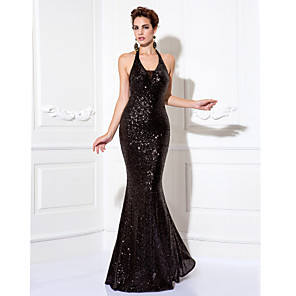 cheap Latin Dancewear-Mermaid / Trumpet Sparkle Black Party Wear Formal Evening Dress Halter Neck Sleeveless Floor Length Sequined with Sequin 2020