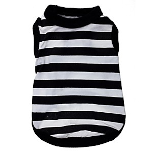 cheap Dog Clothes-Cat Dog Shirt / T-Shirt Stripes Heart Dog Clothes Black / White Costume Terylene XS S M L