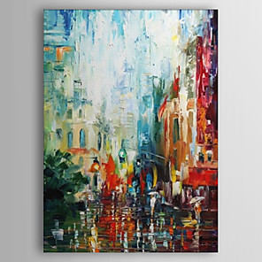 cheap Abstract Paintings-Oil Painting Hand Painted - Abstract Comtemporary Stretched Canvas