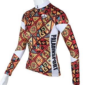 cheap Cycling Jerseys-ILPALADINO Women's Long Sleeve Cycling Jersey Winter Red Plaid / Checkered Plus Size Bike Jersey Top Mountain Bike MTB Road Bike Cycling Breathable Quick Dry Sports Clothing Apparel / High Elasticity