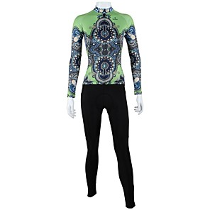 cheap Cycling Jerseys-ILPALADINO Women's Long Sleeve Cycling Jersey with Tights Winter Polyester Black / Green Plus Size Bike Clothing Suit Windproof Breathable Quick Dry Back Pocket Sports Floral / Botanical Mountain