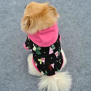 cheap Dog Clothes-Cat Dog Hoodie Dog Clothes Black Polar Fleece Costume For Winter Men's Women's Christmas