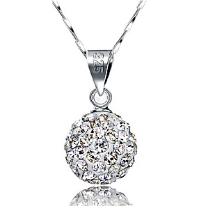cheap Necklaces-Women's Pendant Necklace Ball Pave Ball Ladies Basic Fashion Blinging Sterling Silver Rhinestone Silver Necklace Jewelry For Wedding Daily Casual Masquerade Engagement Party Prom