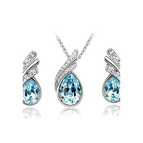 cheap Jewelry Sets-Women's Crystal Jewelry Set Stud Earrings Drop Earrings Pear Cut Solitaire Drop Ladies Party Casual Basic Fashion Elegant Austria Crystal Earrings Jewelry Red / Blue / Light Blue For Party Special