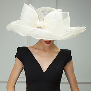 cheap Historical & Vintage Costumes-Flax Kentucky Derby Hat / Hats / Headwear with Floral 1pc Wedding / Special Occasion / Casual Headpiece