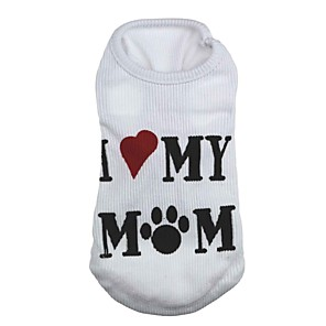 cheap Dog Clothes-Cat Dog Shirt / T-Shirt Dog Clothes White Costume Terylene Heart Letter & Number XS S M L