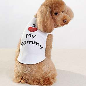 cheap Dog Clothes-Dog Shirt / T-Shirt Dog Clothes Letter & Number White Cotton Costume For Spring &  Fall