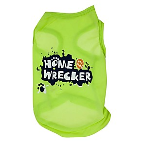 cheap Dog Clothes-Cat Dog Shirt / T-Shirt Letter & Number Dog Clothes Green Costume Terylene XS S M L