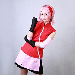 cheap Anime Costumes-Inspired by Naruto Sakura Haruno Anime Cosplay Costumes Japanese Cosplay Suits Patchwork Sleeveless Coat Skirt Armlet For Women's / Shorts / Gloves / Gloves / Shorts