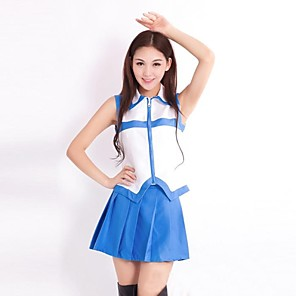 cheap Anime Costumes-Inspired by Fairy Tail Lucy Heartfilia Anime Cosplay Costumes Japanese Cosplay Suits Patchwork Sleeveless Vest Skirt For Women's