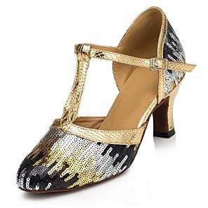 Chaussures de danse(Noir / Bleu / Rose / Rouge / Argent / Or) -Personnalisables-Talon Personnalisé-Paillette Brillante-Latine / Salsa , gold , us11 / eu43 / uk9 / cn44