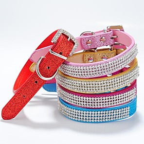 cheap Dog Clothes-Collars Dogs / Cats Red / Blue / Pink / Gold / Rose