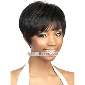 cheap Human Hair Capless Wigs-Human Hair Capless Wig Pixie Cut Short Hairstyles 2019 Rihanna style Brazilian Hair Natural Straight Natural Black Wig Women's Short Human Hair Capless Wigs
