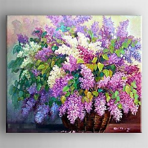 cheap Still Life Paintings-Oil Painting Hand Painted - Floral / Botanical Comtemporary Stretched Canvas