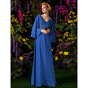 cheap Latin Dancewear-A-Line Mother of the Bride Dress Vintage Inspired V Neck Floor Length Chiffon Long Sleeve with Crystals Beading Side Draping 2020 / Bell Sleeve