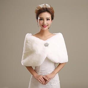 cheap Wedding Wraps-Shrugs Faux Fur Wedding / Party Evening Wedding  Wraps / Fur Wraps With Smooth / Fur