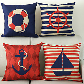 cheap Throw Pillow Covers-Set of 4 Cotton / Linen Nautical Modern Contemporary Throw Pillow