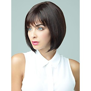 cheap Synthetic Trendy Wigs-Human Hair Capless Wig Short Bob Short Hairstyles 2019 Rihanna style Straight Wavy Dark Black Wig 12 inch Natural Hairline African American Wig 100% Hand Tied Women's Human Hair Capless Wigs