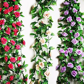 "cheap Artificial Plants-95""L 2Pcs Nine Beautiful Flowers 1 Branch in Roses Bine(Assorted Colors) Wedding Flower House Decor"