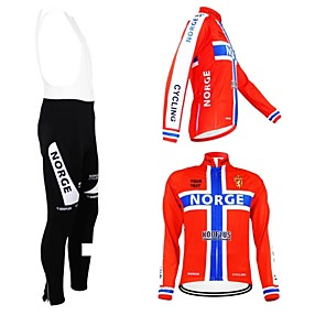 cheap Triathlon Clothing-Customized Cycling Clothing Men's Women's Long Sleeve Cycling Jersey with Bib Tights Norway National Flag Bike Jersey Bib Tights Clothing Suit Breathable Waterproof Zipper Reflective Strips Polyester