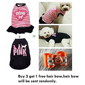 cheap Dog Clothes-Cat Dog Dress Dog Clothes Casual/Daily Stripe Black Pink Costume For Pets