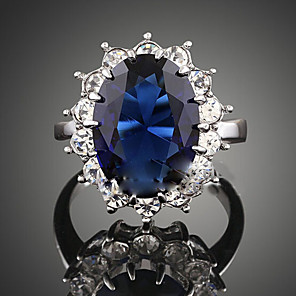 cheap Necklaces-Women's Statement Ring Sapphire Crystal Synthetic Sapphire Dark Blue Synthetic Gemstones Cubic Zirconia Alloy Ladies Fashion Plaited Wedding Party Jewelry Solitaire Oval Cut Halo Cocktail Ring