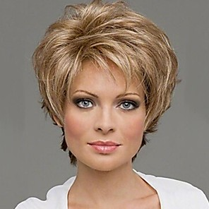 cheap Synthetic Trendy Wigs-Synthetic Wig Curly Curly Wig Blonde Bleached Blonde Synthetic Hair 10 inch Women's Blonde