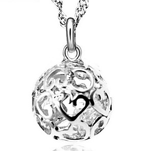 cheap Necklaces-Women's Cubic Zirconia Pendant Necklace Ball Ladies Fashion Sterling Silver Cubic Zirconia Silver Silver Necklace Jewelry For Wedding Party Daily Casual
