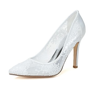 cheap Wedding Shoes-Women's Wedding Shoes Mesh Stiletto Heel Pointed Toe Lace Knit Spring / Summer Ivory / Black / White / Party & Evening / EU38